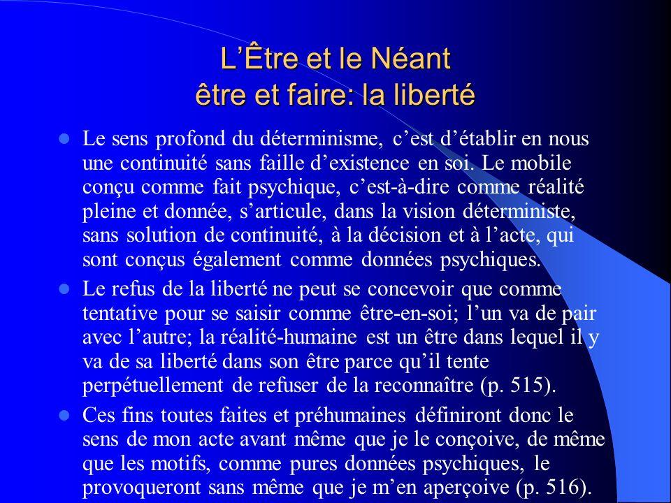 LÊtre et le Néant être et faire: la liberté Le sens profond du déterminisme, cest détablir en nous une continuité sans faille dexistence en soi. Le mo