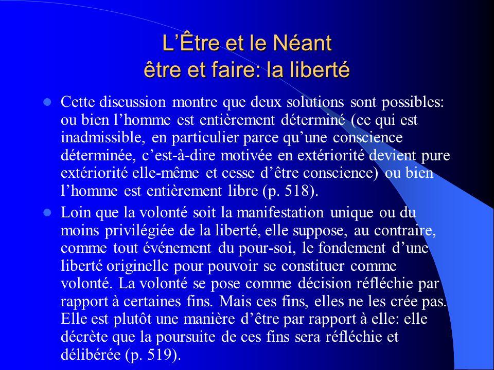 LÊtre et le Néant être et faire: la liberté Cette discussion montre que deux solutions sont possibles: ou bien lhomme est entièrement déterminé (ce qu