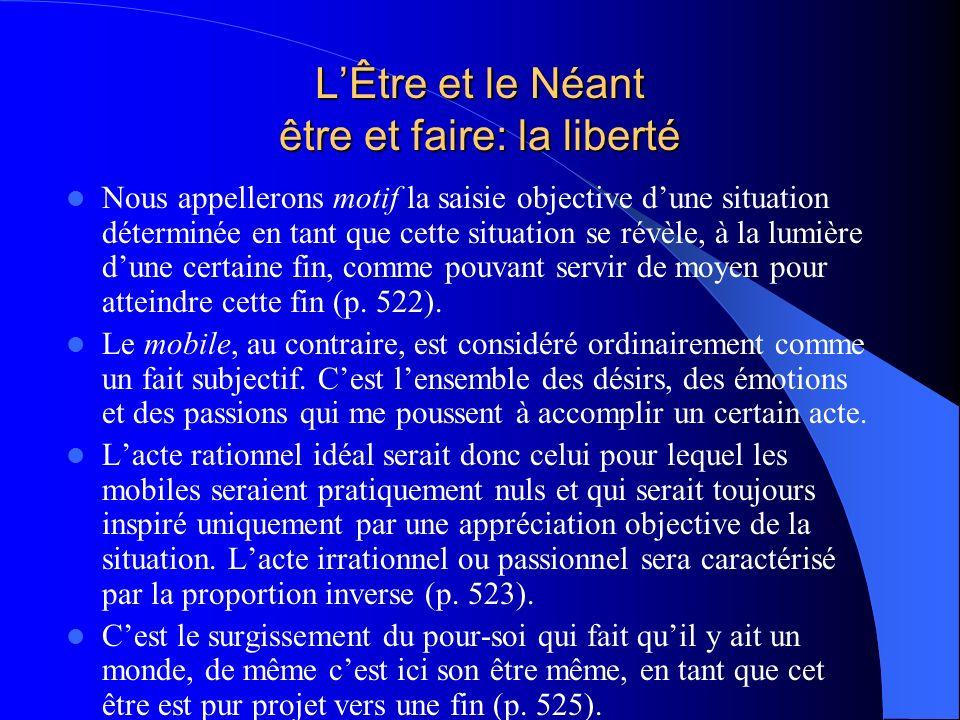 LÊtre et le Néant être et faire: la liberté Nous appellerons motif la saisie objective dune situation déterminée en tant que cette situation se révèle