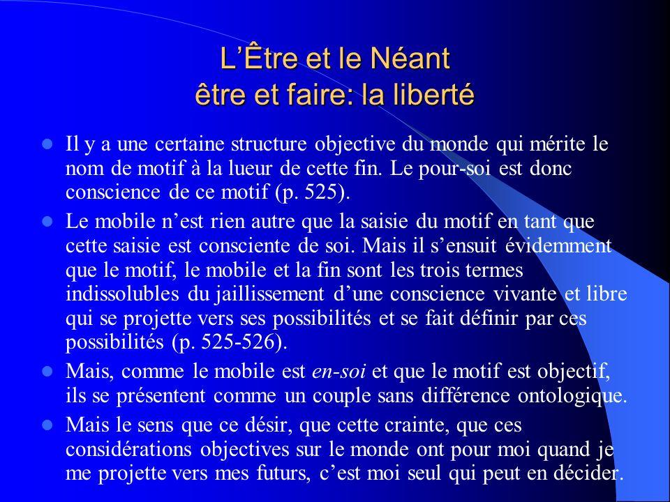 LÊtre et le Néant être et faire: la liberté Il y a une certaine structure objective du monde qui mérite le nom de motif à la lueur de cette fin. Le po