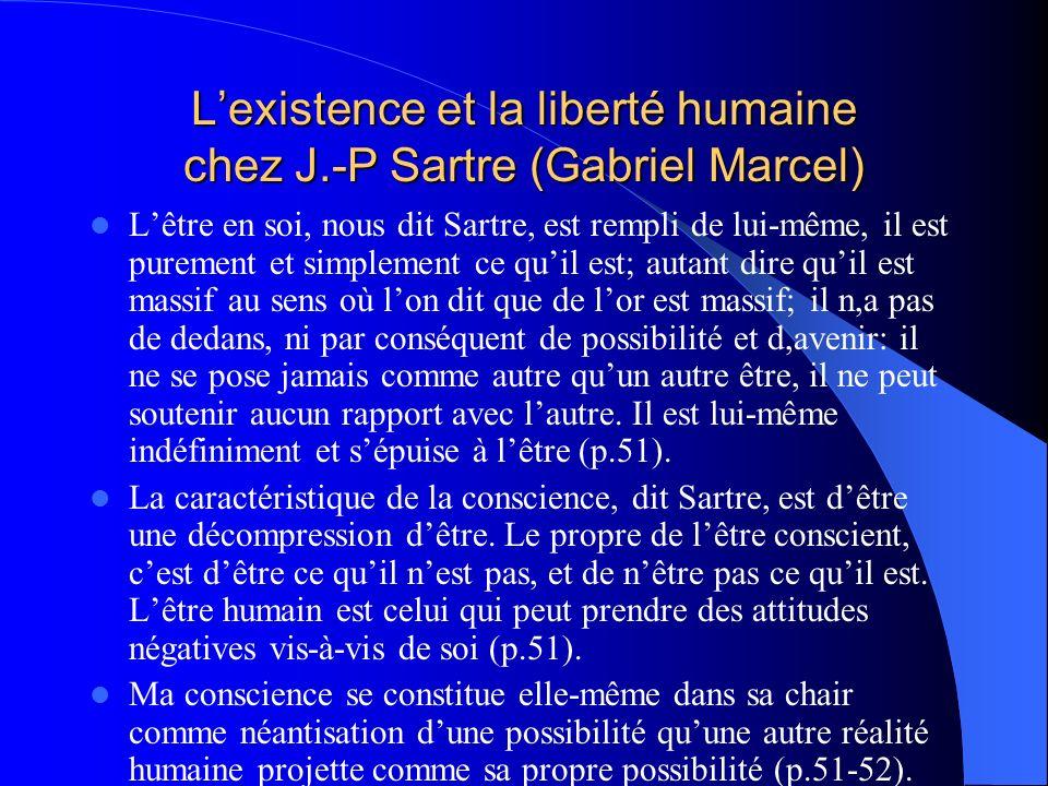 Lexistence et la liberté humaine chez J.-P Sartre (Gabriel Marcel) Lêtre en soi, nous dit Sartre, est rempli de lui-même, il est purement et simplemen