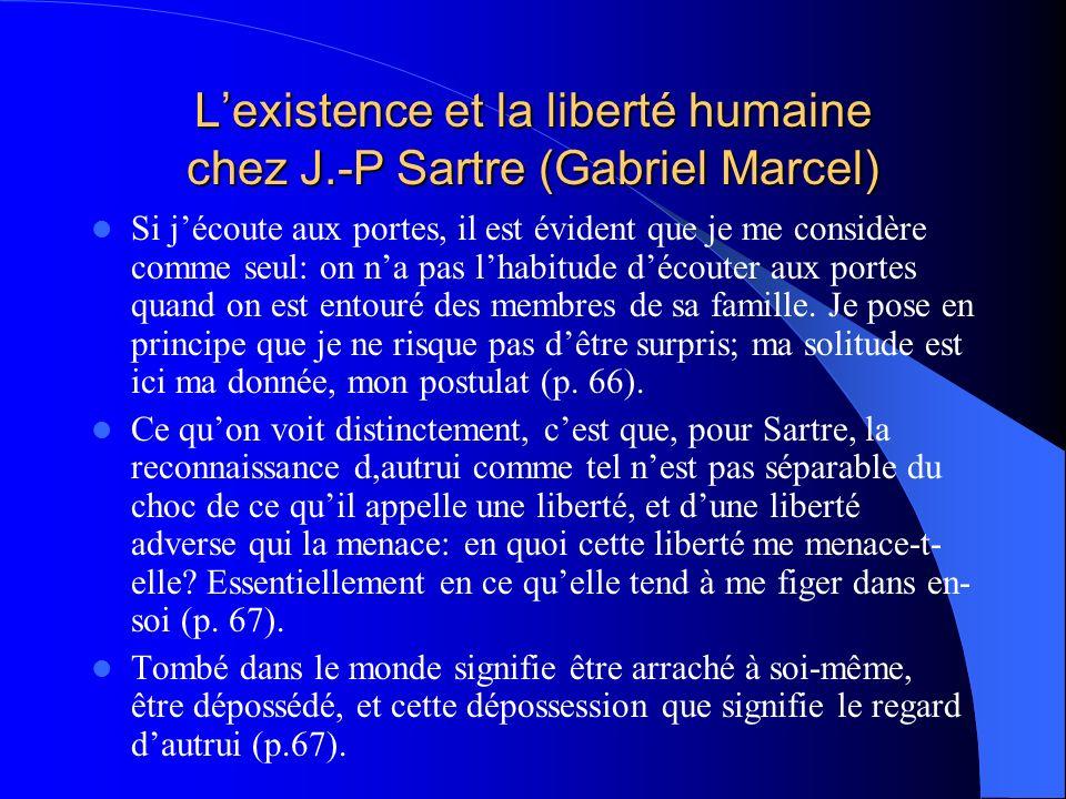 Lexistence et la liberté humaine chez J.-P Sartre (Gabriel Marcel) Si jécoute aux portes, il est évident que je me considère comme seul: on na pas lha