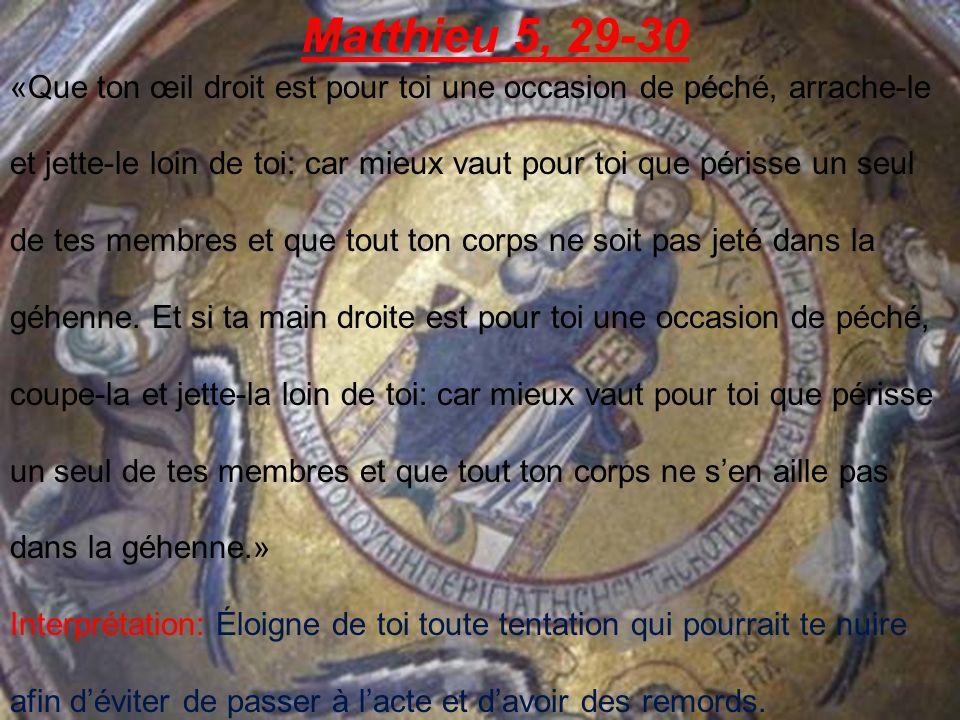 Matthieu 5, 38-47 «Vous avez entendu quil a été dit: oeil pour oeil et dent pour dent [vengeance].