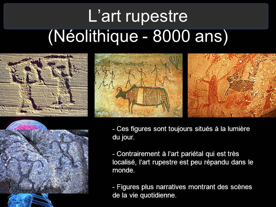 Lart rupestre (Néolithique - 8000 ans) - Ces figures sont toujours situés à la lumière du jour. - Contrairement à lart pariétal qui est très localisé,