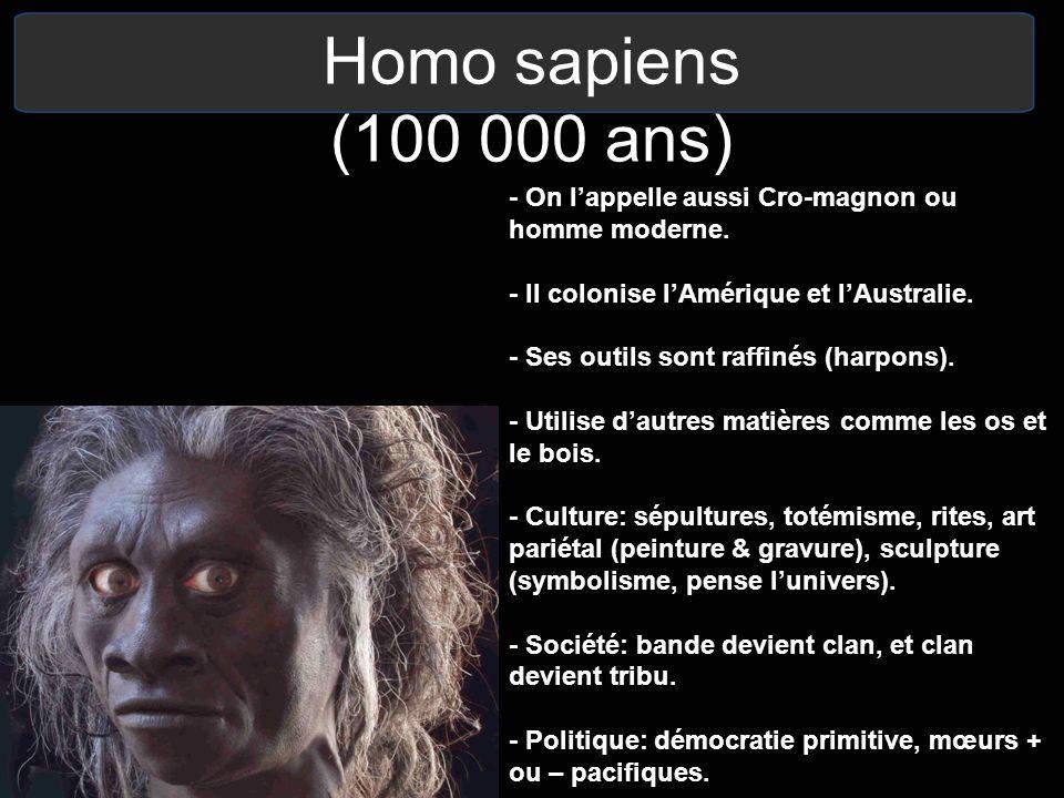 Homo sapiens (100 000 ans) - On lappelle aussi Cro-magnon ou homme moderne. - Il colonise lAmérique et lAustralie. - Ses outils sont raffinés (harpons