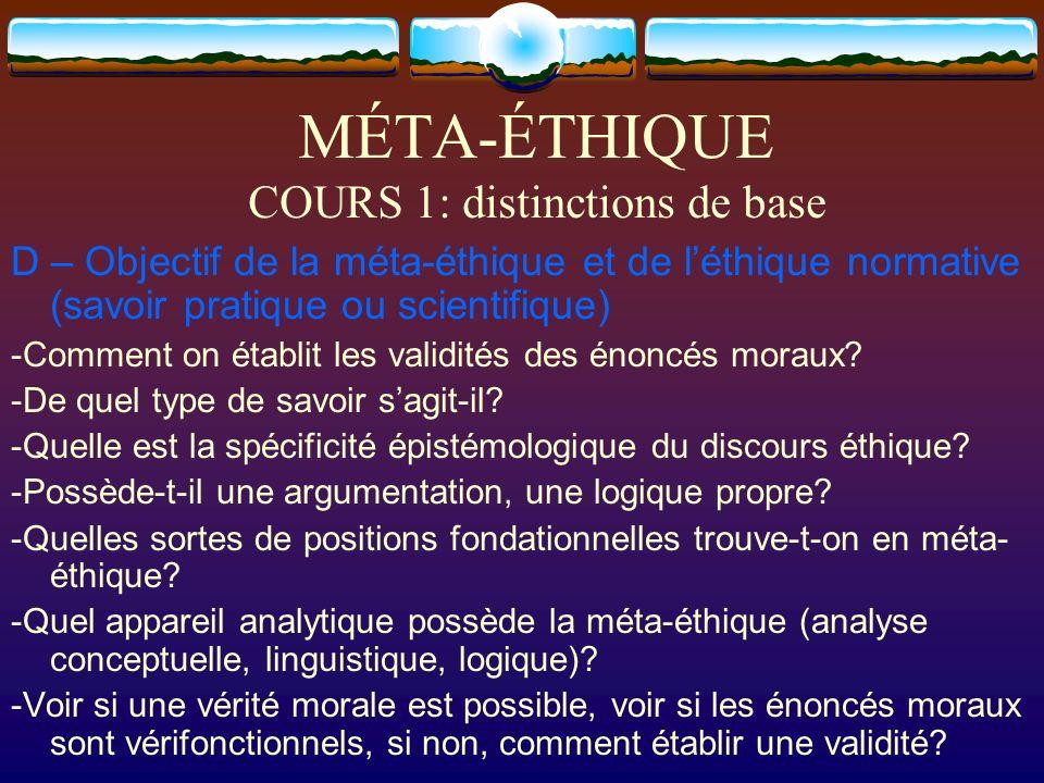 MÉTA-ÉTHIQUE COURS 1: distinctions de base D – Objectif de la méta-éthique et de léthique normative (savoir pratique ou scientifique) -Comment on étab