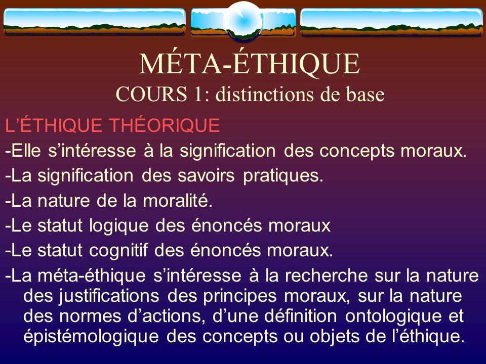 MÉTA-ÉTHIQUE COURS 1: distinctions de base LÉTHIQUE THÉORIQUE -Elle sintéresse à la signification des concepts moraux. -La signification des savoirs p