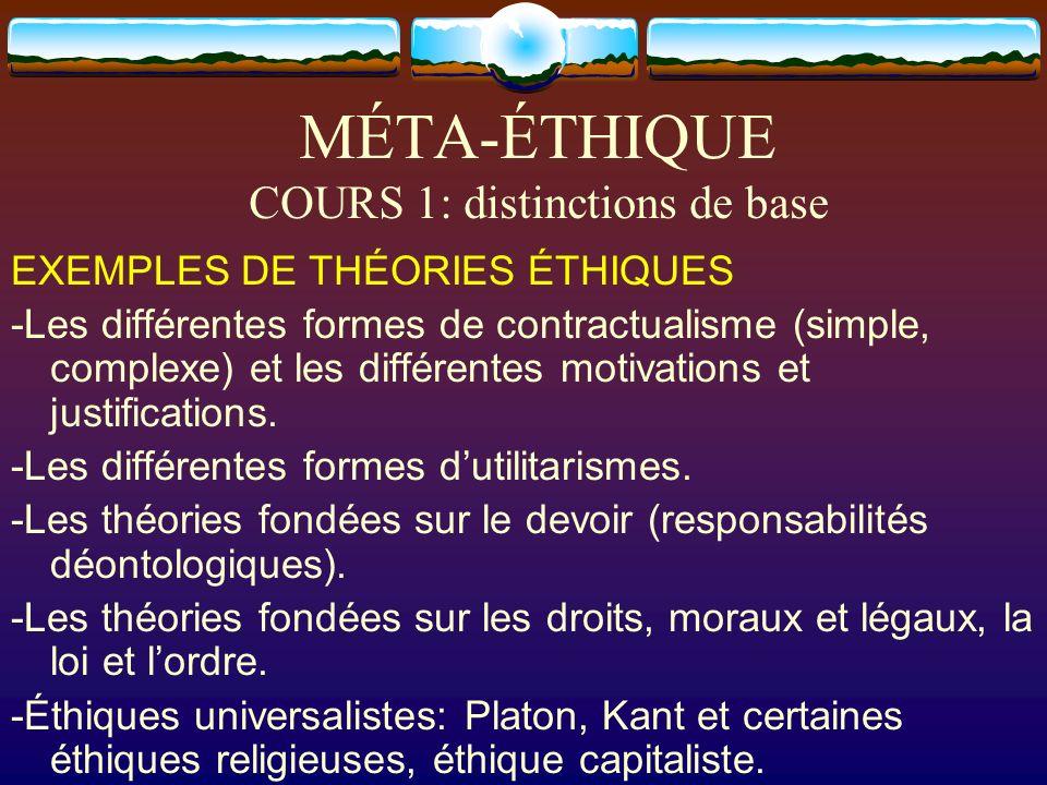 MÉTA-ÉTHIQUE COURS 1: distinctions de base EXEMPLES DE THÉORIES ÉTHIQUES -Les différentes formes de contractualisme (simple, complexe) et les différen