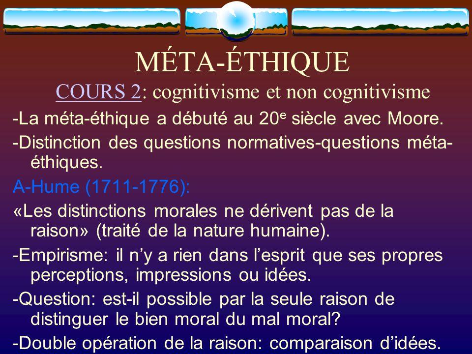 MÉTA-ÉTHIQUE COURS 2: cognitivisme et non cognitivisme COURS 2 -La méta-éthique a débuté au 20 e siècle avec Moore. -Distinction des questions normati