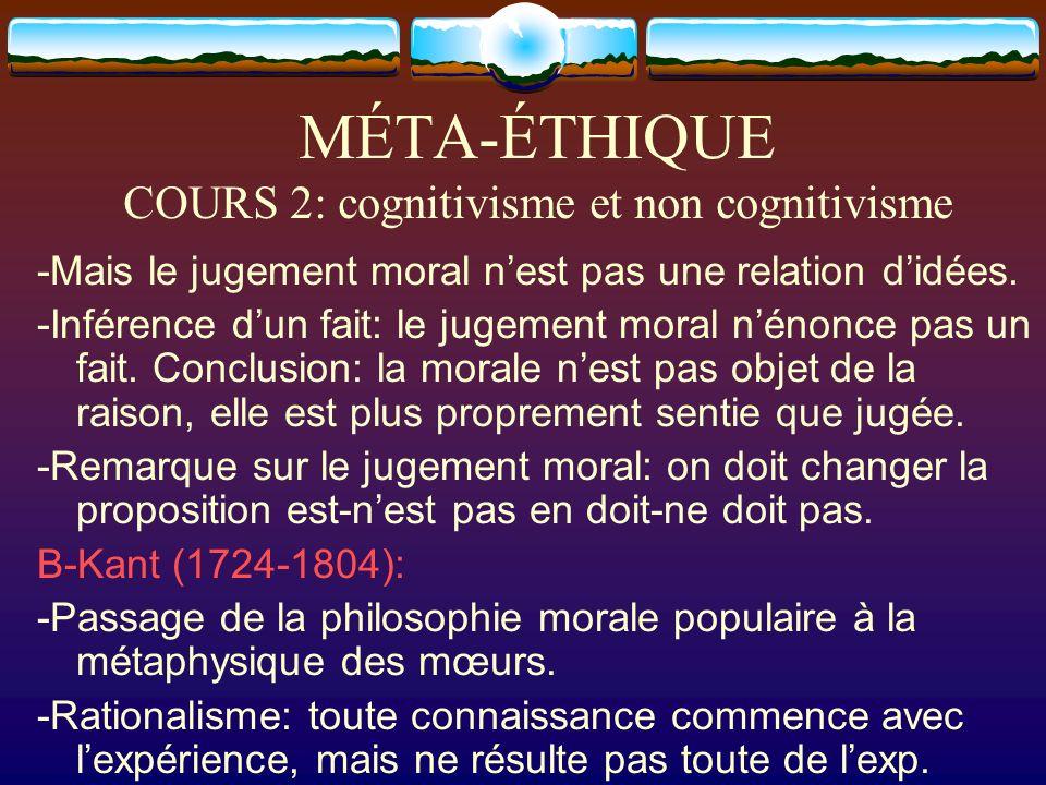 MÉTA-ÉTHIQUE COURS 2: cognitivisme et non cognitivisme -Mais le jugement moral nest pas une relation didées. -Inférence dun fait: le jugement moral né