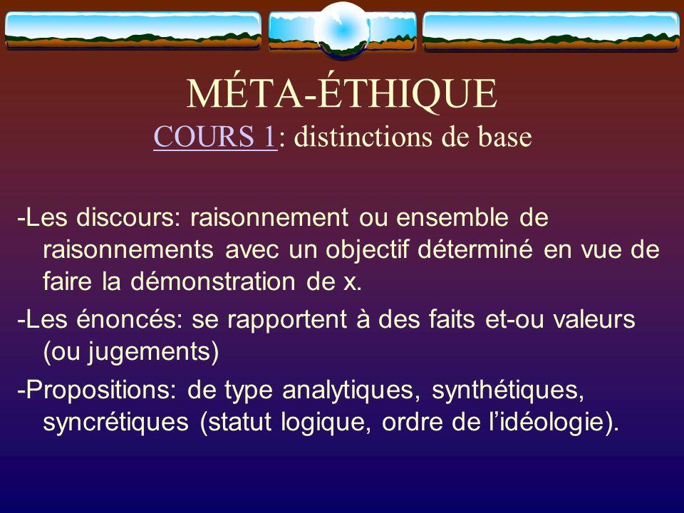 MÉTA-ÉTHIQUE COURS 1: distinctions de base COURS 1 -Les discours: raisonnement ou ensemble de raisonnements avec un objectif déterminé en vue de faire
