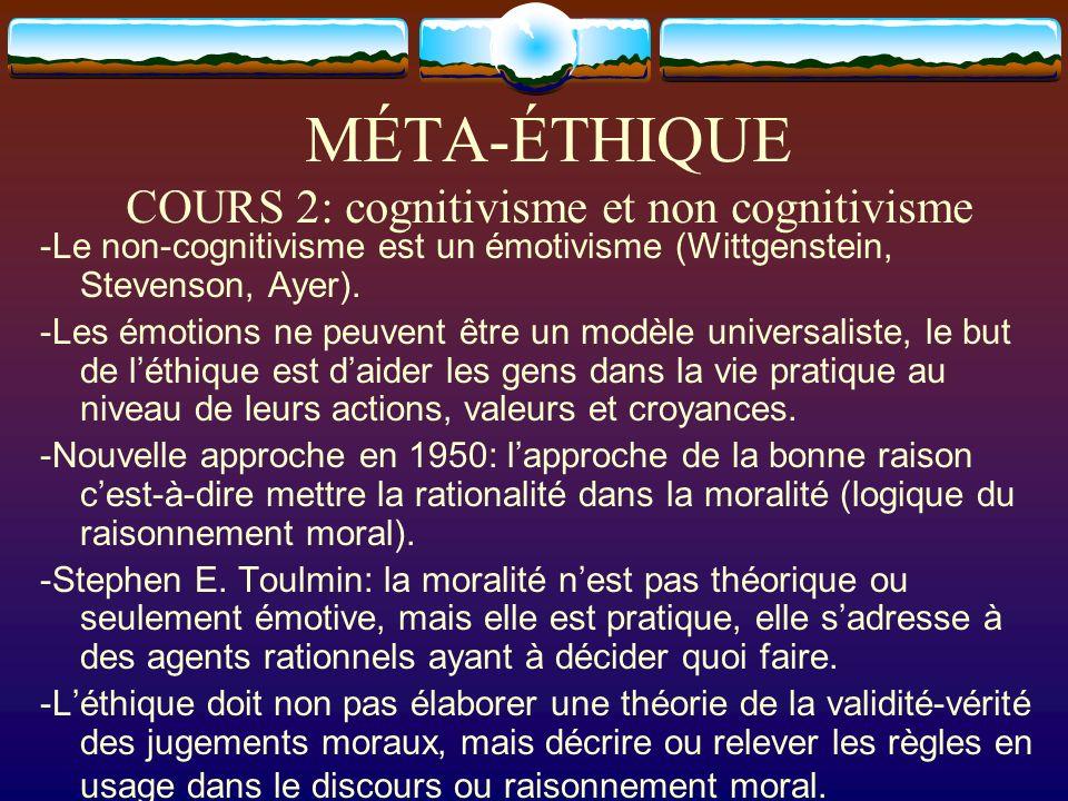 MÉTA-ÉTHIQUE COURS 2: cognitivisme et non cognitivisme -Le non-cognitivisme est un émotivisme (Wittgenstein, Stevenson, Ayer). -Les émotions ne peuven