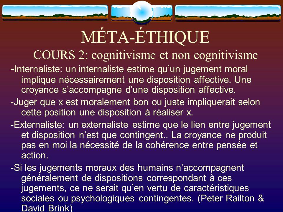 MÉTA-ÉTHIQUE COURS 2: cognitivisme et non cognitivisme - Internaliste: un internaliste estime quun jugement moral implique nécessairement une disposit