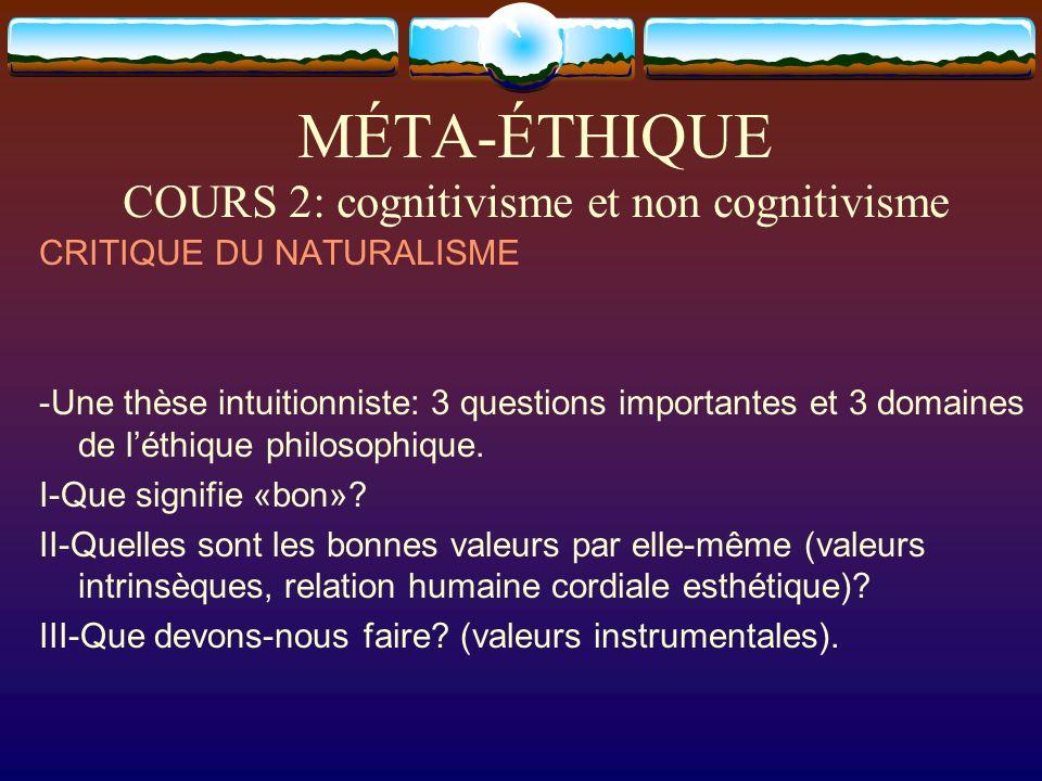 MÉTA-ÉTHIQUE COURS 2: cognitivisme et non cognitivisme CRITIQUE DU NATURALISME -Une thèse intuitionniste: 3 questions importantes et 3 domaines de lét