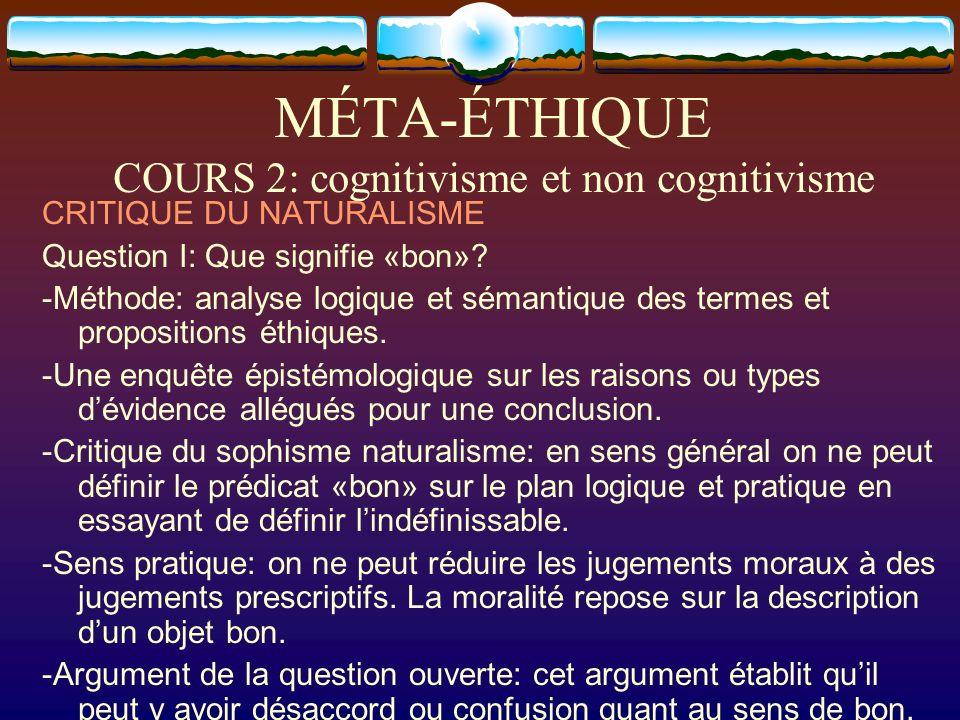 MÉTA-ÉTHIQUE COURS 2: cognitivisme et non cognitivisme CRITIQUE DU NATURALISME Question I: Que signifie «bon»? -Méthode: analyse logique et sémantique