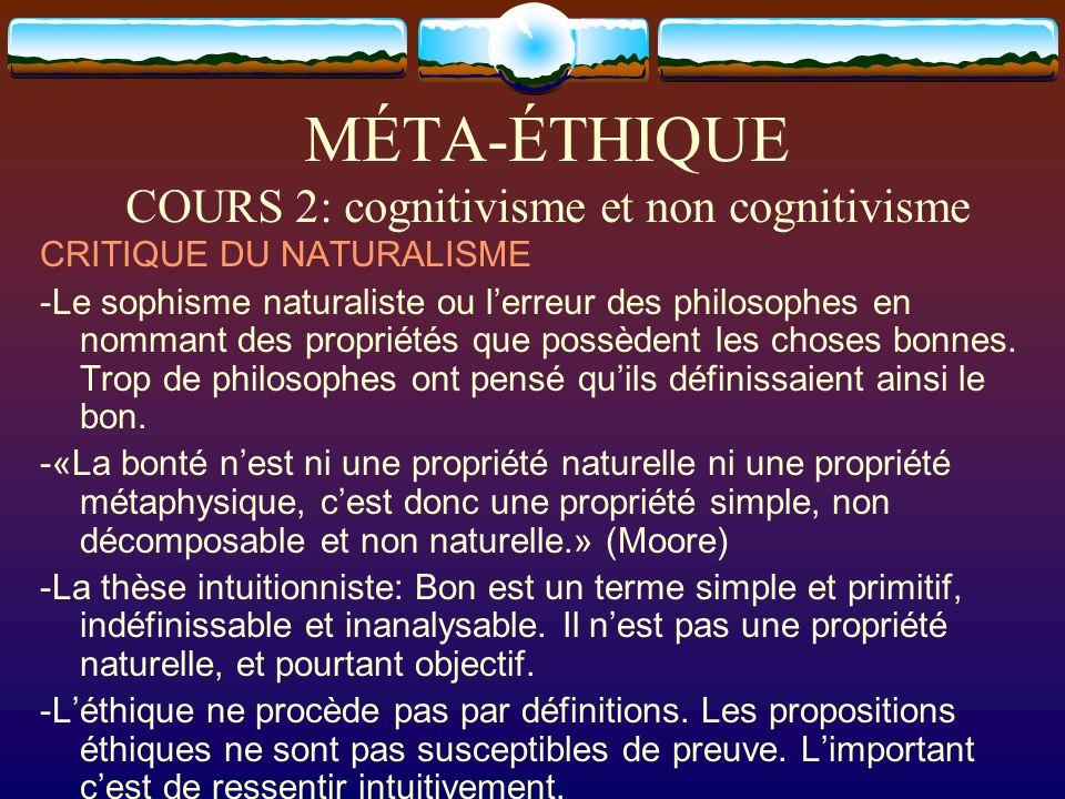 MÉTA-ÉTHIQUE COURS 2: cognitivisme et non cognitivisme CRITIQUE DU NATURALISME -Le sophisme naturaliste ou lerreur des philosophes en nommant des prop