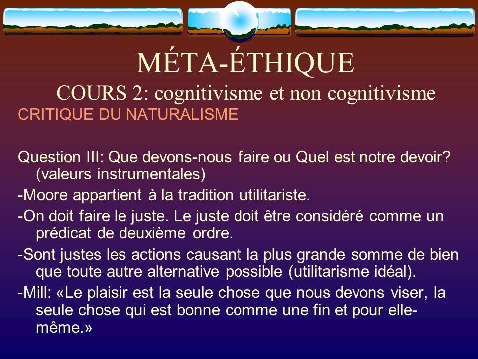 MÉTA-ÉTHIQUE COURS 2: cognitivisme et non cognitivisme CRITIQUE DU NATURALISME Question III: Que devons-nous faire ou Quel est notre devoir? (valeurs