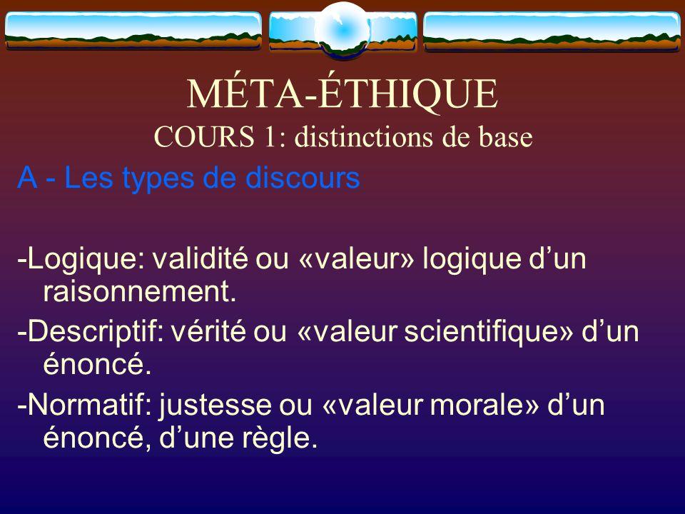 MÉTA-ÉTHIQUE COURS 1: distinctions de base A - Les types de discours -Logique: validité ou «valeur» logique dun raisonnement. -Descriptif: vérité ou «