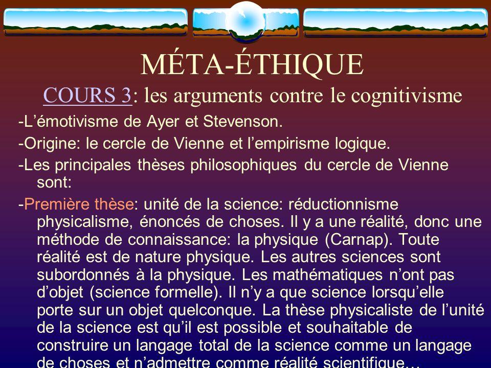 MÉTA-ÉTHIQUE COURS 3: les arguments contre le cognitivisme COURS 3 -Lémotivisme de Ayer et Stevenson. -Origine: le cercle de Vienne et lempirisme logi