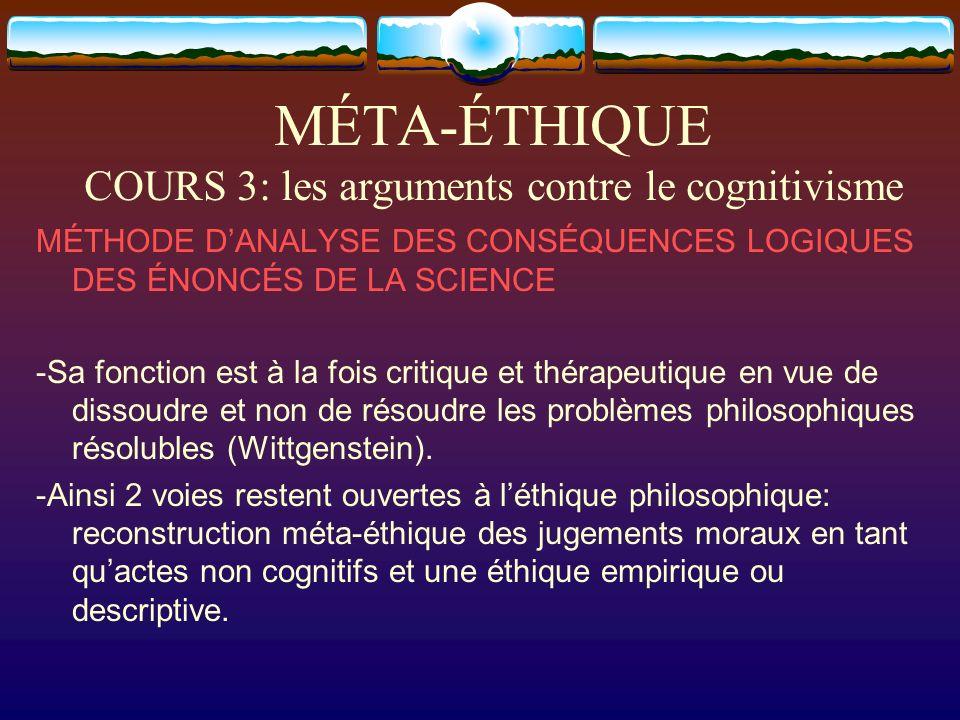 MÉTA-ÉTHIQUE COURS 3: les arguments contre le cognitivisme MÉTHODE DANALYSE DES CONSÉQUENCES LOGIQUES DES ÉNONCÉS DE LA SCIENCE -Sa fonction est à la