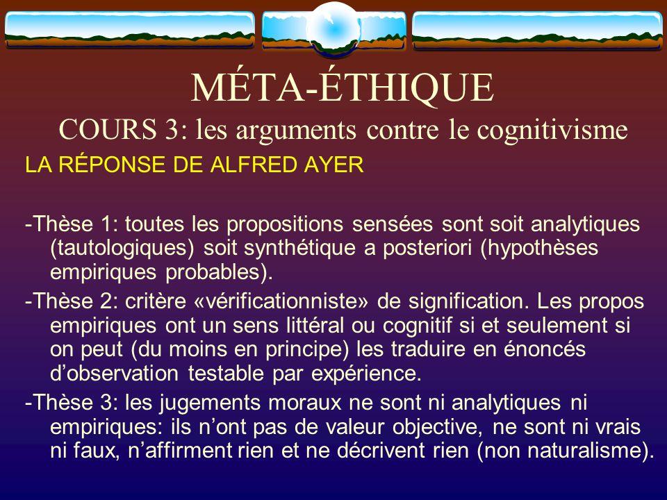 MÉTA-ÉTHIQUE COURS 3: les arguments contre le cognitivisme LA RÉPONSE DE ALFRED AYER -Thèse 1: toutes les propositions sensées sont soit analytiques (