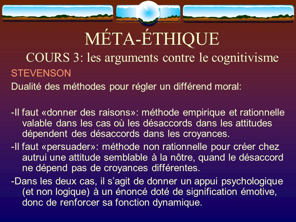 MÉTA-ÉTHIQUE COURS 3: les arguments contre le cognitivisme STEVENSON Dualité des méthodes pour régler un différend moral: -Il faut «donner des raisons