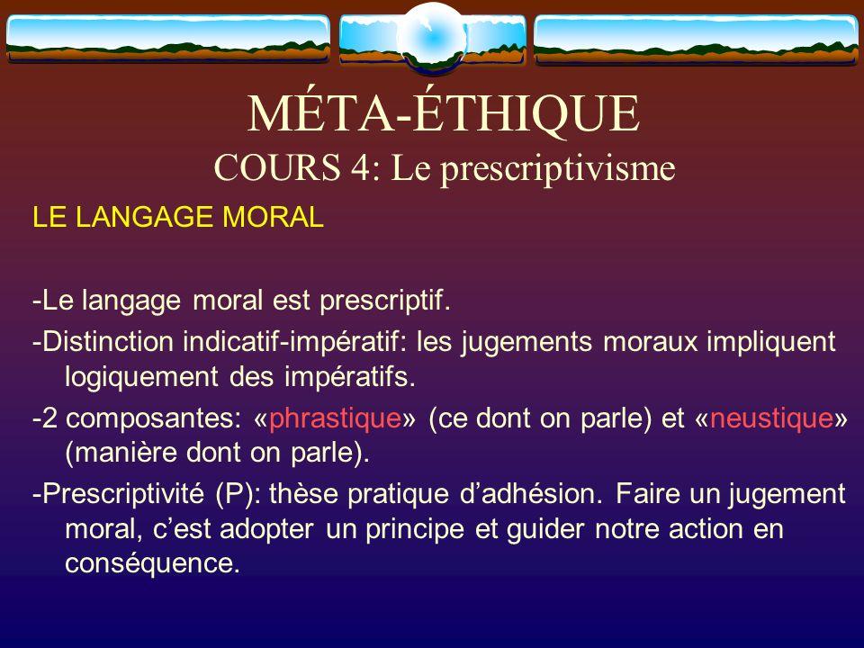 MÉTA-ÉTHIQUE COURS 4: Le prescriptivisme LE LANGAGE MORAL -Le langage moral est prescriptif. -Distinction indicatif-impératif: les jugements moraux im