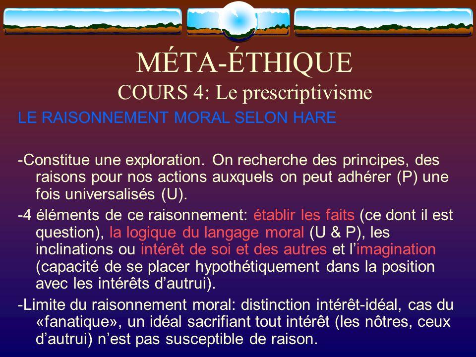 MÉTA-ÉTHIQUE COURS 4: Le prescriptivisme LE RAISONNEMENT MORAL SELON HARE -Constitue une exploration. On recherche des principes, des raisons pour nos