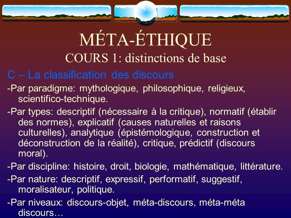 MÉTA-ÉTHIQUE COURS 1: distinctions de base C – La classification des discours -Par paradigme: mythologique, philosophique, religieux, scientifico-tech
