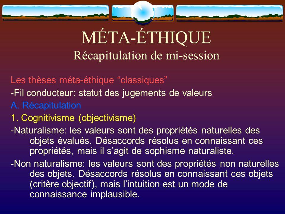 MÉTA-ÉTHIQUE Récapitulation de mi-session Les thèses méta-éthique classiques -Fil conducteur: statut des jugements de valeurs A. Récapitulation 1. Cog