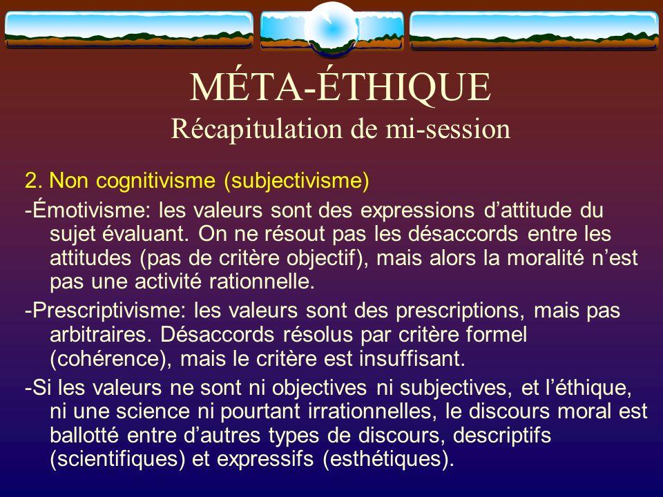 MÉTA-ÉTHIQUE Récapitulation de mi-session 2. Non cognitivisme (subjectivisme) -Émotivisme: les valeurs sont des expressions dattitude du sujet évaluan