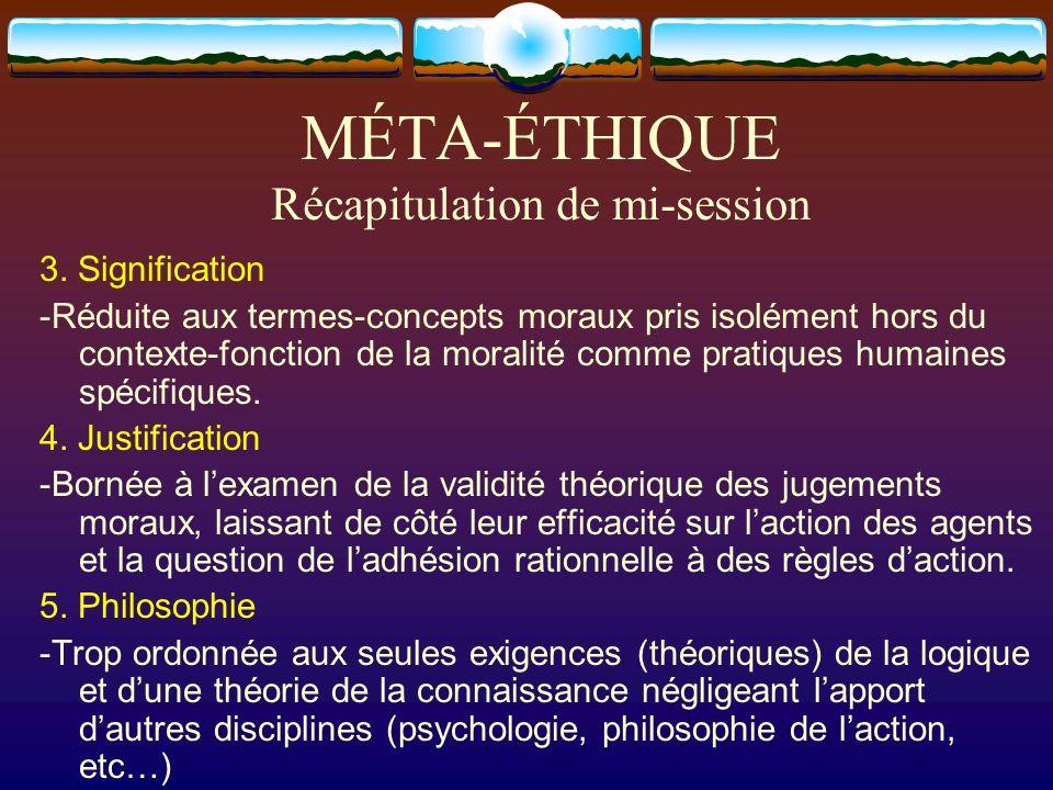 MÉTA-ÉTHIQUE Récapitulation de mi-session 3. Signification -Réduite aux termes-concepts moraux pris isolément hors du contexte-fonction de la moralité