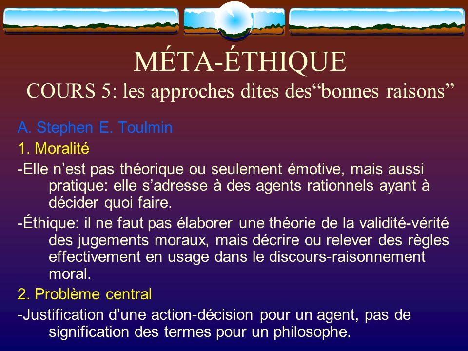 MÉTA-ÉTHIQUE COURS 5: les approches dites desbonnes raisons A. Stephen E. Toulmin 1. Moralité -Elle nest pas théorique ou seulement émotive, mais auss