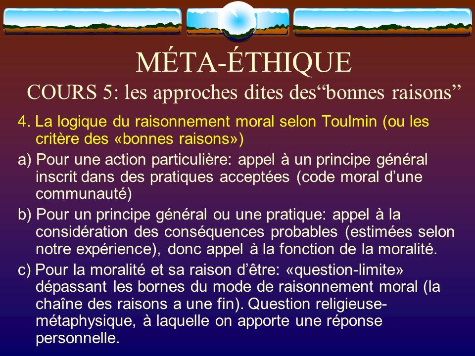 MÉTA-ÉTHIQUE COURS 5: les approches dites desbonnes raisons 4. La logique du raisonnement moral selon Toulmin (ou les critère des «bonnes raisons») a)