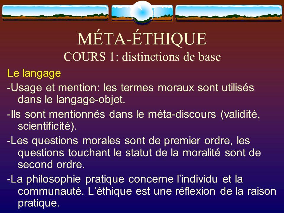 MÉTA-ÉTHIQUE COURS 1: distinctions de base Le langage -Usage et mention: les termes moraux sont utilisés dans le langage-objet. -Ils sont mentionnés d