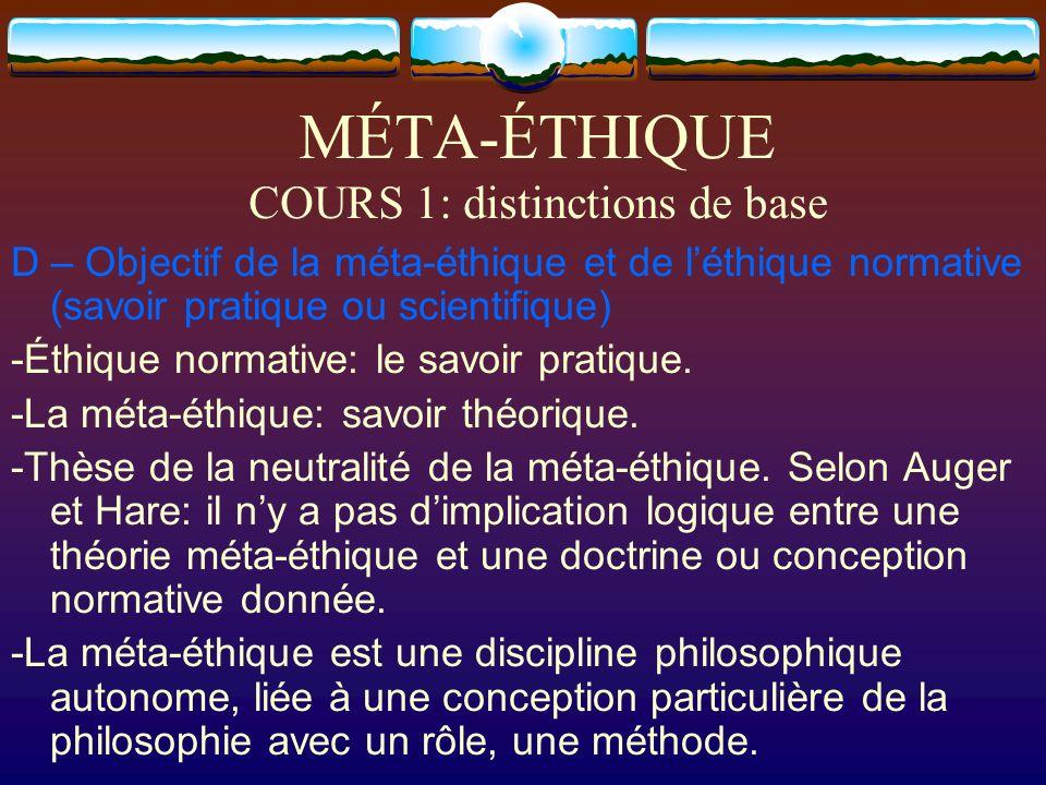 MÉTA-ÉTHIQUE COURS 1: distinctions de base D – Objectif de la méta-éthique et de léthique normative (savoir pratique ou scientifique) -Éthique normati