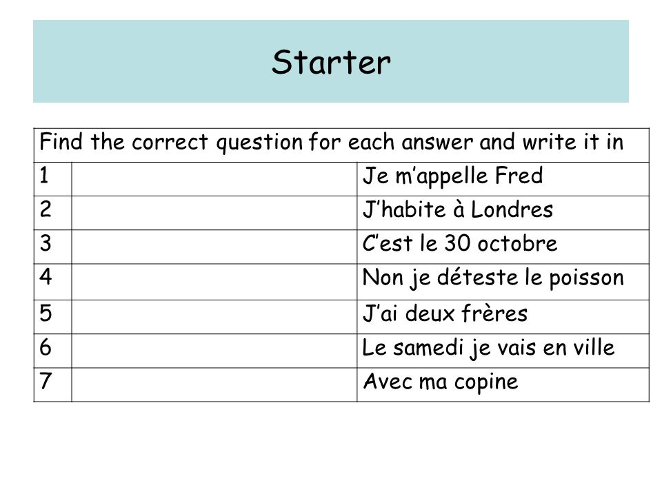 Starter Find the correct question for each answer and write it in 1Je mappelle Fred 2Jhabite à Londres 3Cest le 30 octobre 4Non je déteste le poisson