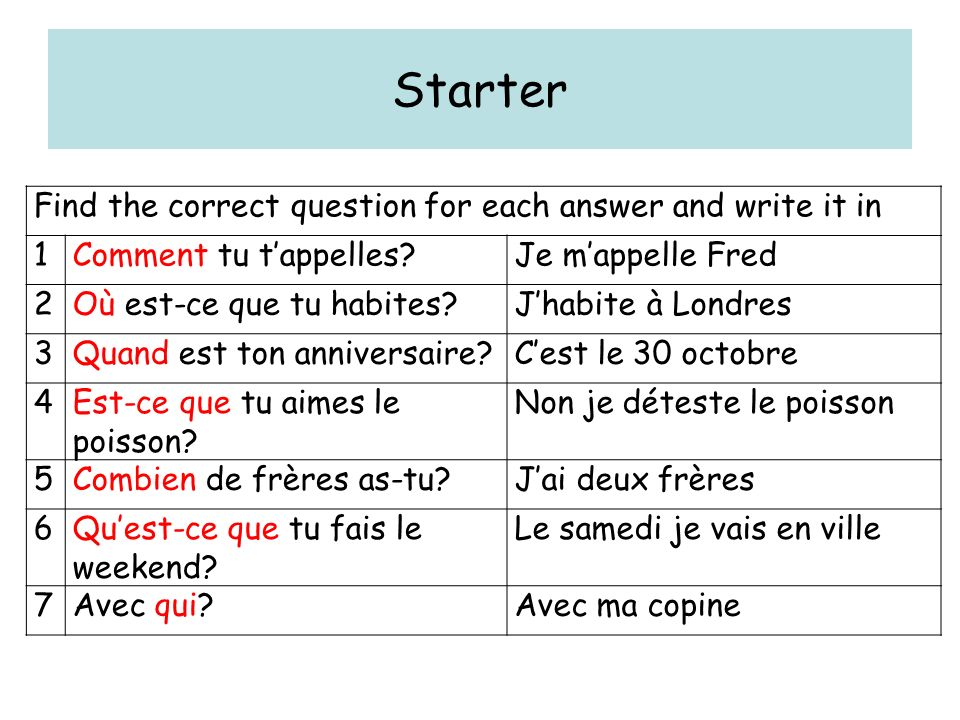 Starter Find the correct question for each answer and write it in 1Comment tu tappelles?Je mappelle Fred 2Où est-ce que tu habites?Jhabite à Londres 3