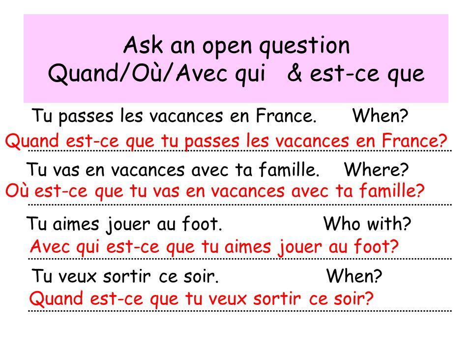 Writing What do you do in the summer.tu fais en été Do you go on holiday.