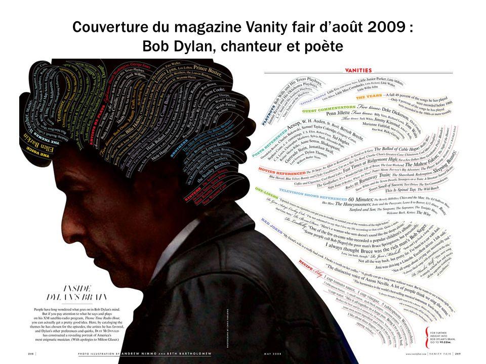 Couverture du magazine Vanity fair daoût 2009 : Bob Dylan, chanteur et poète
