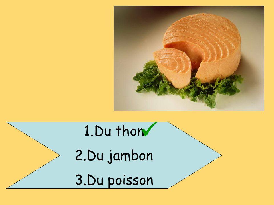 1.Du thon 2.Du jambon 3.Du poisson