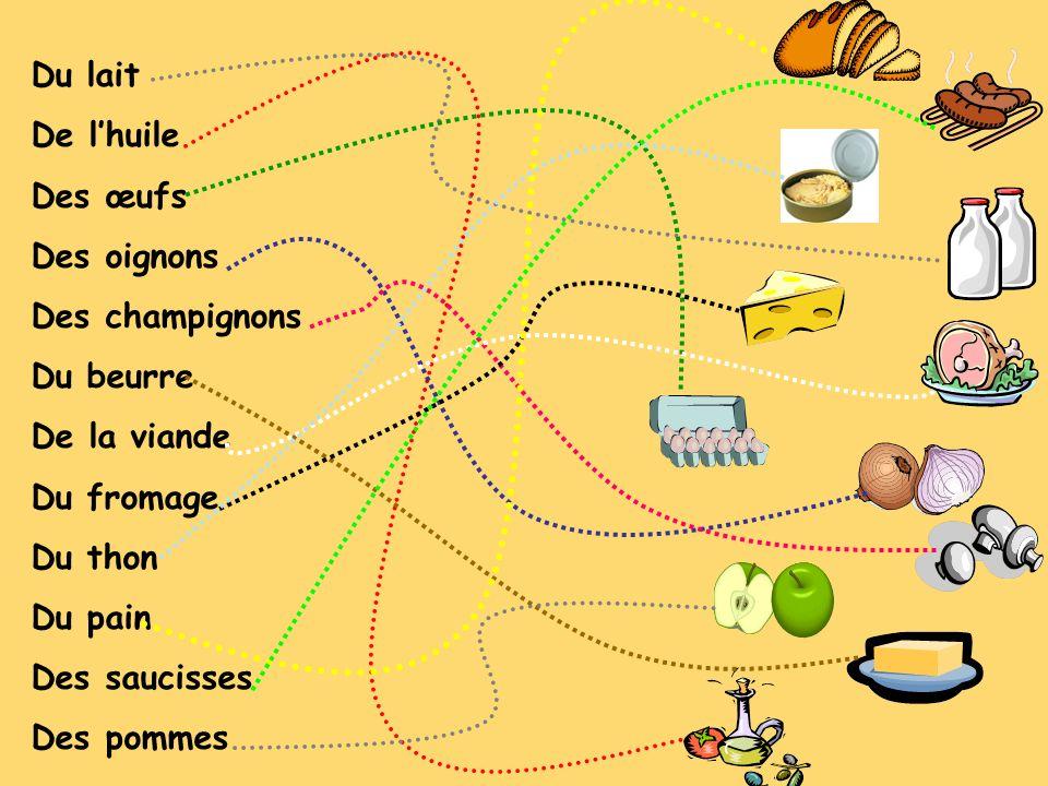 Du lait De lhuile Des œufs Des oignons Des champignons Du beurre De la viande Du fromage Du thon Du pain Des saucisses Des pommes