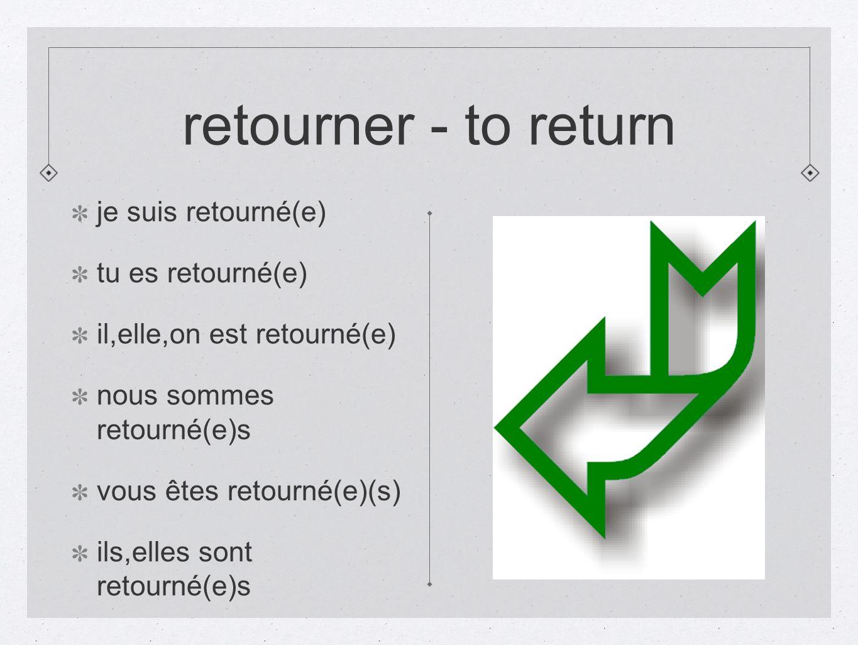 retourner - to return je suis retourné(e) tu es retourné(e) il,elle,on est retourné(e) nous sommes retourné(e)s vous êtes retourné(e)(s) ils,elles son