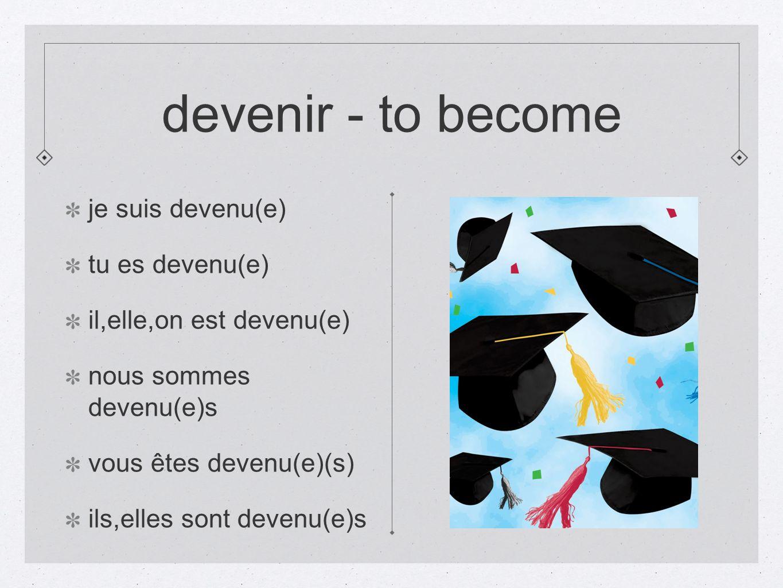 devenir - to become je suis devenu(e) tu es devenu(e) il,elle,on est devenu(e) nous sommes devenu(e)s vous êtes devenu(e)(s) ils,elles sont devenu(e)s