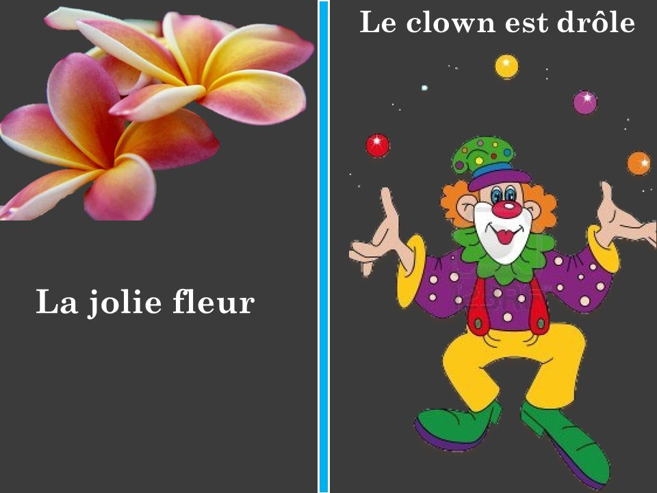 Le clown est drôle La jolie fleur