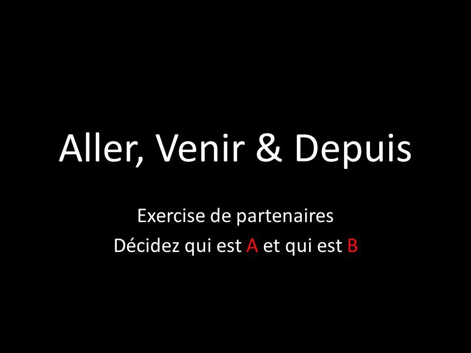 Aller, Venir & Depuis Exercise de partenaires Décidez qui est A et qui est B
