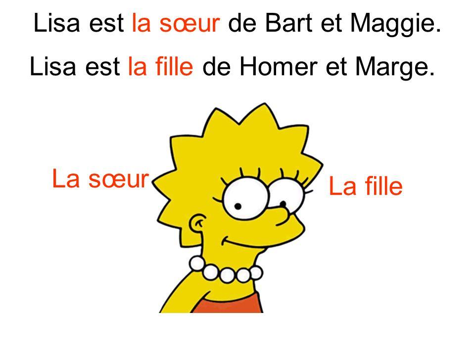 Maggie est la sœur de Bart et Lisa. la sœurla fille Maggie est la fille de Homer et Marge.