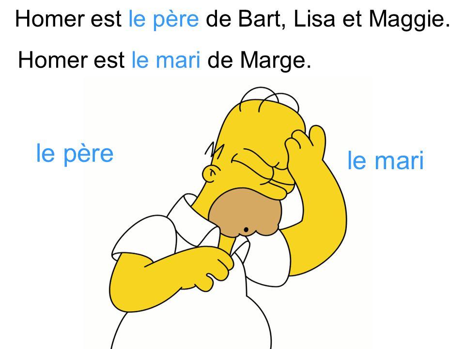 Marge est la mère de Bart, Lisa et Maggie. la mère la femme Marge est la femme de Homer.