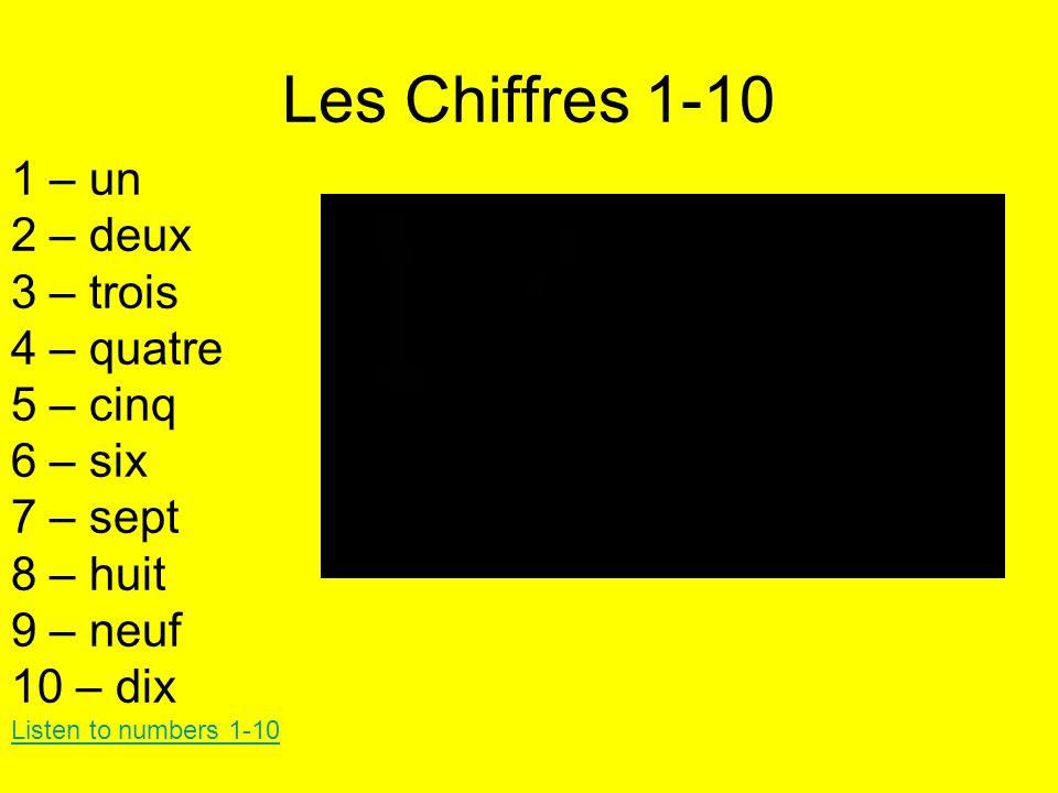 Les Chiffres 1-10 1 – un 2 – deux 3 – trois 4 – quatre 5 – cinq 6 – six 7 – sept 8 – huit 9 – neuf 10 – dix Listen to numbers 1-10