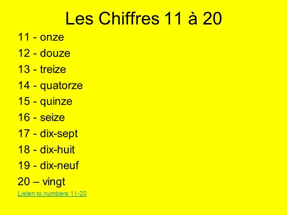 Les Chiffres 11 à 20 11 - onze 12 - douze 13 - treize 14 - quatorze 15 - quinze 16 - seize 17 - dix-sept 18 - dix-huit 19 - dix-neuf 20 – vingt Listen